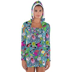 Monster Party Pattern Women s Long Sleeve Hooded T Shirt