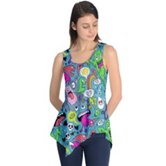 Monster Party Pattern Sleeveless Tunic