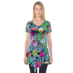 Monster Party Pattern Short Sleeve Tunic