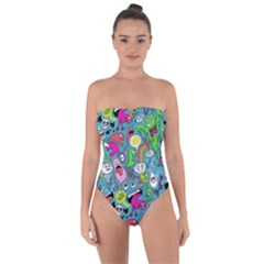Monster Party Pattern Tie Back One Piece Swimsuit