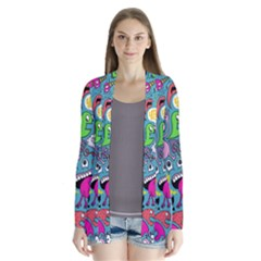 Monster Party Pattern Drape Collar Cardigan