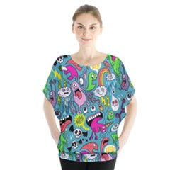 Monster Party Pattern Blouse