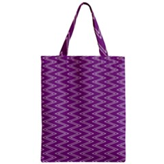Zig Zag Background Purple Zipper Classic Tote Bag