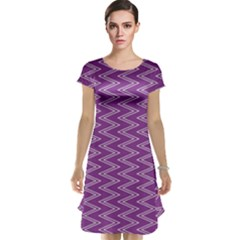 Zig Zag Background Purple Cap Sleeve Nightdress