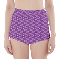 Zig Zag Background Purple High Waisted Bikini Bottoms