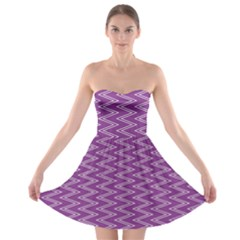 Zig Zag Background Purple Strapless Bra Top Dress