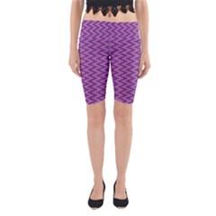 Zig Zag Background Purple Yoga Cropped Leggings