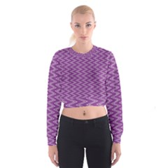 Zig Zag Background Purple Cropped Sweatshirt
