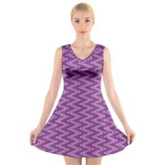 Zig Zag Background Purple V-Neck Sleeveless Skater Dress
