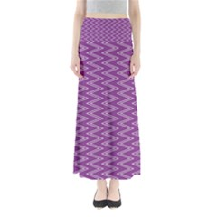 Zig Zag Background Purple Full Length Maxi Skirt