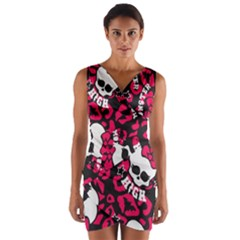 Mattel Monster Pattern Wrap Front Bodycon Dress