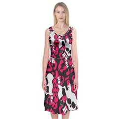 Mattel Monster Pattern Midi Sleeveless Dress