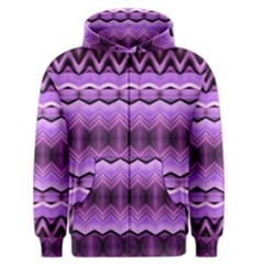 Purple Pink Zig Zag Pattern Men s Zipper Hoodie