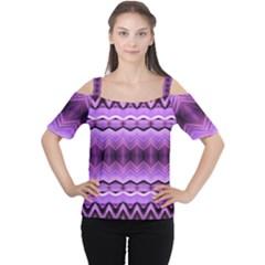 Purple Pink Zig Zag Pattern Women s Cutout Shoulder Tee
