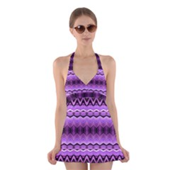Purple Pink Zig Zag Pattern Halter Swimsuit Dress