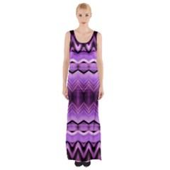 Purple Pink Zig Zag Pattern Maxi Thigh Split Dress