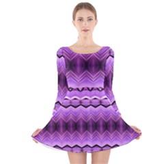 Purple Pink Zig Zag Pattern Long Sleeve Velvet Skater Dress