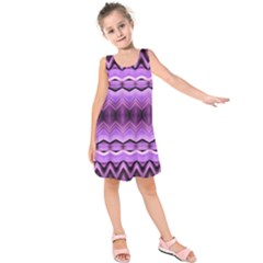 Purple Pink Zig Zag Pattern Kids  Sleeveless Dress
