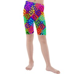 3d Fsm Tessellation Pattern Kids  Mid Length Swim Shorts