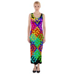 3d Fsm Tessellation Pattern Fitted Maxi Dress