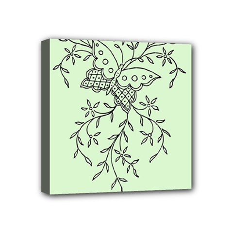 Illustration Of Butterflies And Flowers Ornament On Green Background Mini Canvas 4  x 4