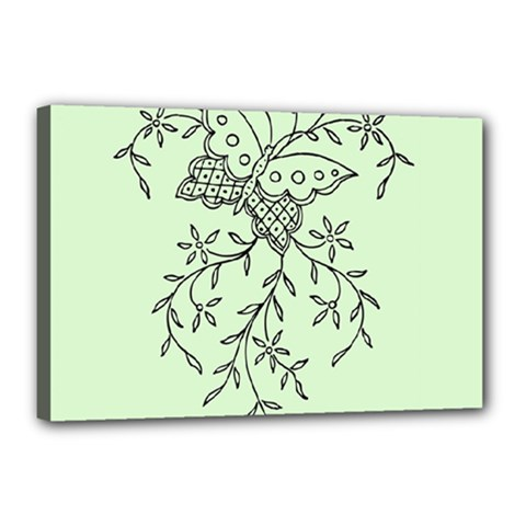 Illustration Of Butterflies And Flowers Ornament On Green Background Canvas 18  x 12