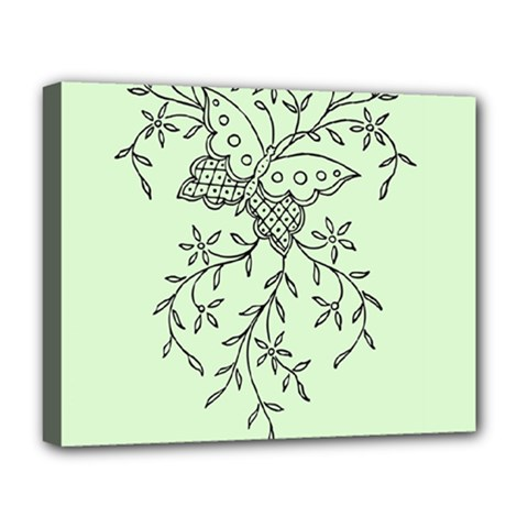 Illustration Of Butterflies And Flowers Ornament On Green Background Deluxe Canvas 20  X 16