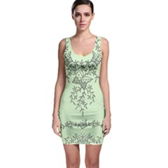 Illustration Of Butterflies And Flowers Ornament On Green Background Sleeveless Bodycon Dress