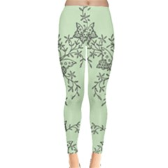 Illustration Of Butterflies And Flowers Ornament On Green Background Leggings