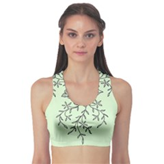Illustration Of Butterflies And Flowers Ornament On Green Background Sports Bra