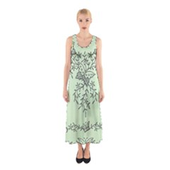 Illustration Of Butterflies And Flowers Ornament On Green Background Sleeveless Maxi Dress