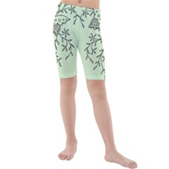 Illustration Of Butterflies And Flowers Ornament On Green Background Kids  Mid Length Swim Shorts