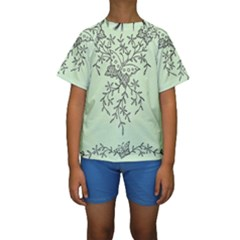 Illustration Of Butterflies And Flowers Ornament On Green Background Kids  Short Sleeve Swimwear