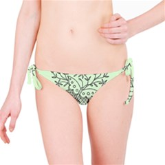 Illustration Of Butterflies And Flowers Ornament On Green Background Bikini Bottom