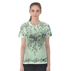 Illustration Of Butterflies And Flowers Ornament On Green Background Women s Sport Mesh Tee