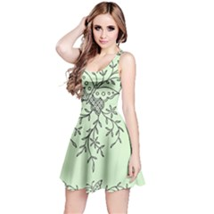 Illustration Of Butterflies And Flowers Ornament On Green Background Reversible Sleeveless Dress
