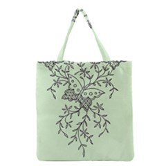Illustration Of Butterflies And Flowers Ornament On Green Background Grocery Tote Bag