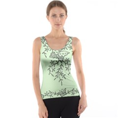 Illustration Of Butterflies And Flowers Ornament On Green Background Tank Top