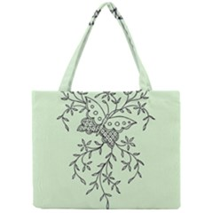 Illustration Of Butterflies And Flowers Ornament On Green Background Mini Tote Bag