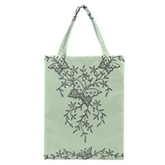 Illustration Of Butterflies And Flowers Ornament On Green Background Classic Tote Bag