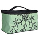 Illustration Of Butterflies And Flowers Ornament On Green Background Cosmetic Storage Case View2