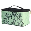 Illustration Of Butterflies And Flowers Ornament On Green Background Cosmetic Storage Case View3