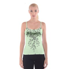 Illustration Of Butterflies And Flowers Ornament On Green Background Spaghetti Strap Top