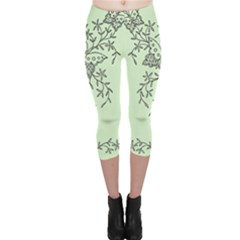 Illustration Of Butterflies And Flowers Ornament On Green Background Capri Leggings