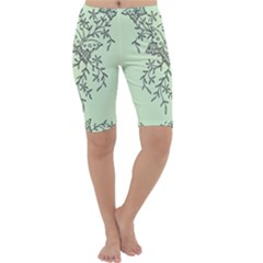 Illustration Of Butterflies And Flowers Ornament On Green Background Cropped Leggings