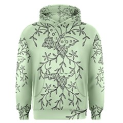 Illustration Of Butterflies And Flowers Ornament On Green Background Men s Pullover Hoodie