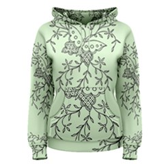 Illustration Of Butterflies And Flowers Ornament On Green Background Women s Pullover Hoodie