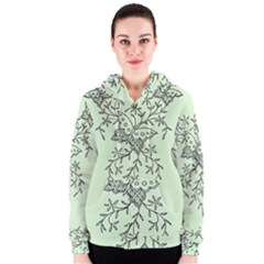 Illustration Of Butterflies And Flowers Ornament On Green Background Women s Zipper Hoodie