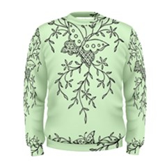 Illustration Of Butterflies And Flowers Ornament On Green Background Men s Sweatshirt
