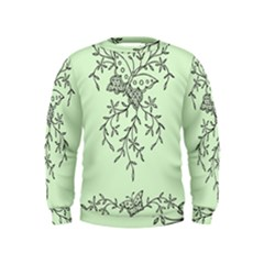 Illustration Of Butterflies And Flowers Ornament On Green Background Kids  Sweatshirt